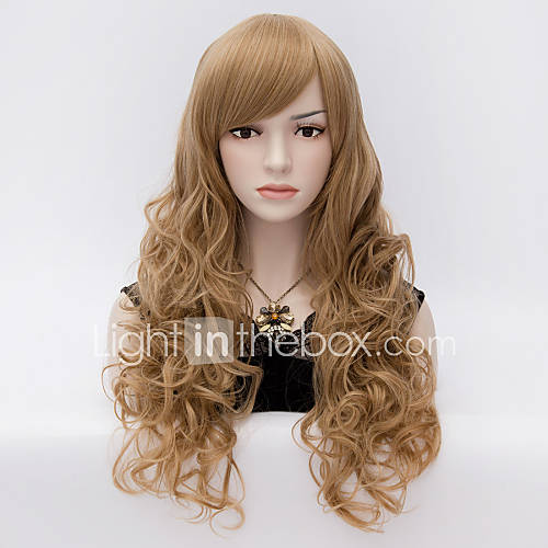 Womens Girls Fashion  Curly Long Synthetic Hair  Full Wigs Brown