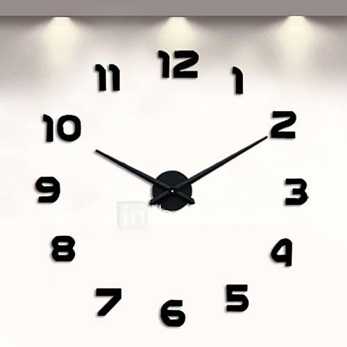 Digital Large Wall Clock 3D DIY Clock Acrylic Stickers Quartz Modern Home Decoration