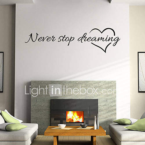 Wall Stickers Wall Decals Style Nerer Stop Dreaming English Words  Quotes PVC Wall Stickers