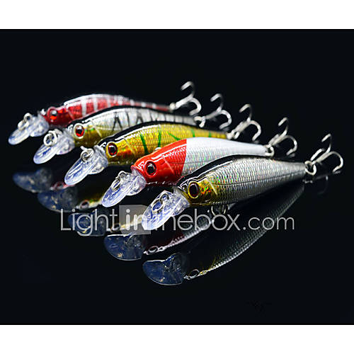 "5 pcs Hard Bait Minnow Lure kits Fishing Lures Lure Packs Hard Bait Minnow g/Ounce mm/3-1/4"" inchHard PlasticSea Fishing Bait Casting"