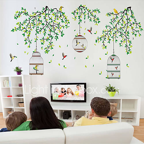 Wall Stickers Wall Decals Style Green Branches on The Cage PVC Wall Stickers