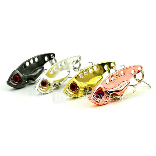 "4 pcs Hard Bait Metal Bait Vibration/VIB Fishing Lures Vibration/VIB Metal Bait Spoons Black Pink Gold Silver g/Ounce40mm mm/1-5/8"" inch"