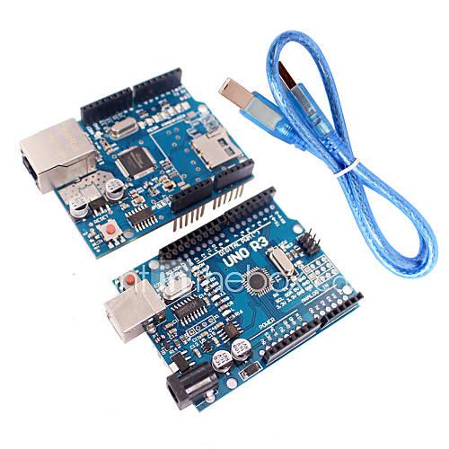 módulo W5100 versión mejorada uno módulo de placa ATmega328P r3  escudo ethernet para arduino Descuento en Miniinthebox
