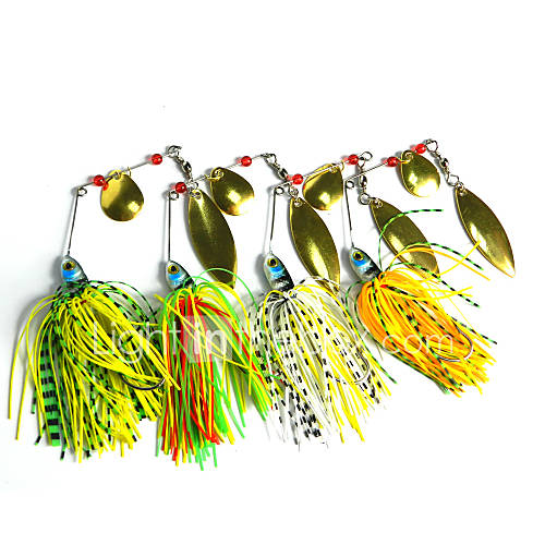 4 pcs Hengjia Metal Spinner Baits 17.4g  Floating Fishing Lures