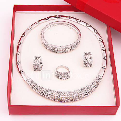 Women's Jewelry Set Rhinestone Luxury Fashion Wedding Party Special Occasion Anniversary Birthday Engagement Gift Gold Plated Imitation