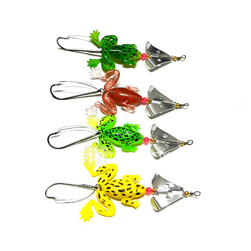 4pcs Hengjia Rubber Frog Soft Fishing Lures Spoon Spinner Baits 6.2g