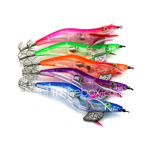 Hengjia LED Squid Jig Fishing Lures 5pcs/Set 128mm 21g (Color Assorted)
