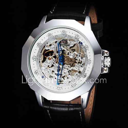 FORSINING Men's Vintage Skeleton Auto Mechanical Leather Strap Watch Cool Watch Unique Watch
