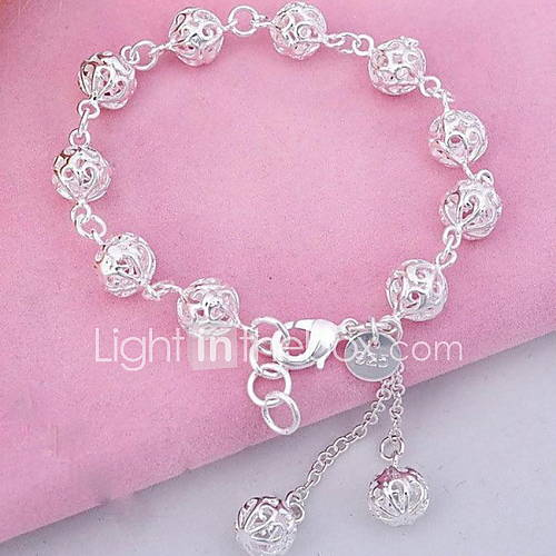 WH  925 Silver Ball Crystal Tassel PendantBracelet Jewelry Christmas Gifts
