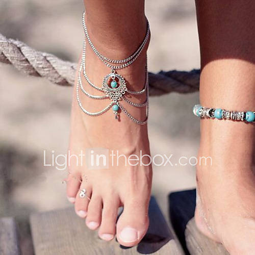 Cute Drop Multi Layer Turquoise Anklet / Barefoot Sandals - Women's Screen Color Unique Design / Vintage / Party Jewelry Anklet For Party