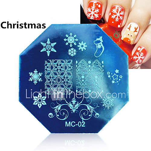 1PCS Christmas Nail Art Stamping ...