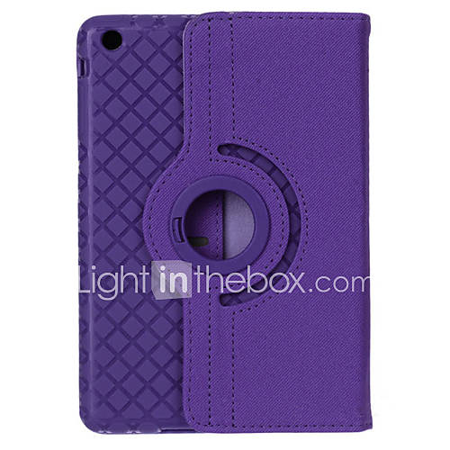 360 Degrees Rotating Grid Pattern PU Leather  TPU Case w/ Stand For iPad 4/3/2