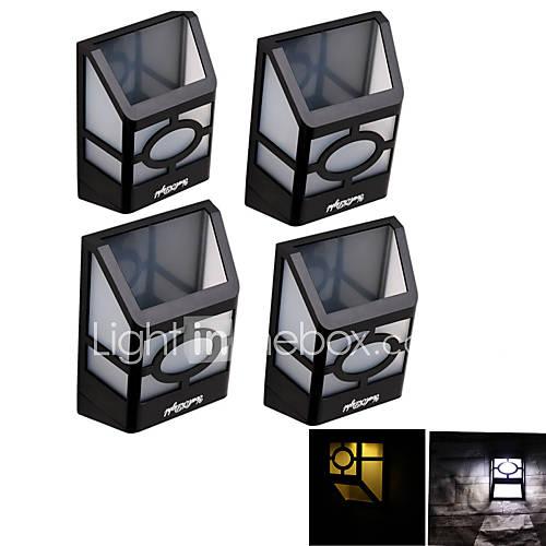 YouOKLight 4PCS High Power 2x LEDs  Warm White/White Light Solar Lantern Light Fence Lamp Solar Wall Mounted Light
