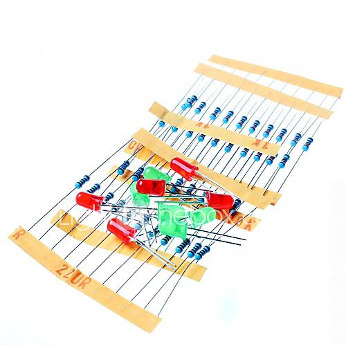 50pcs 1k 10k 100k 220 ohm 1 / 4w resistor de película metálica y el kit llevado para pi frambuesa / arduino Descuento en Miniinthebox