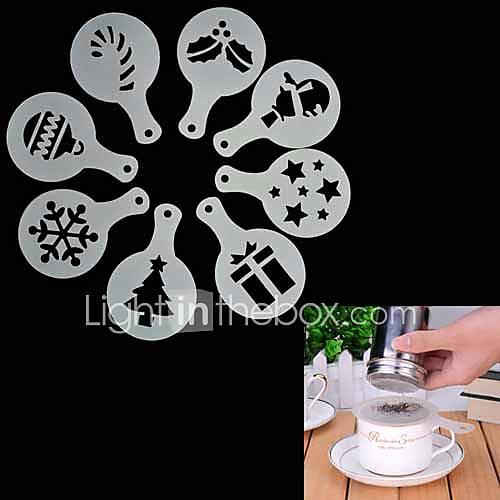 8Pcs Christmas Coffee Stencil Cappuccino  Chocolate Cookies Cakes Stencils Mold