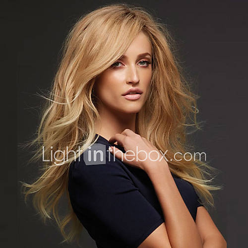 New Fashion High Quality Flax Gold Long Natural Volume Synthetic Wigs Hot Sale.