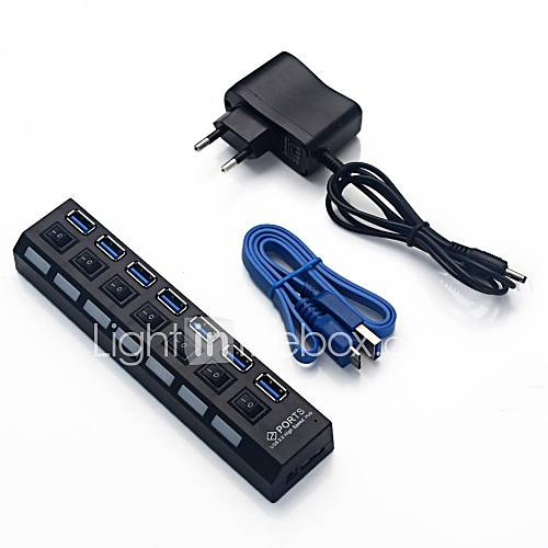 7 puerto usb cable de alimentación de alta velocidad 3.0 hub para el cuaderno del ordenador portátil de escritorio de la PC