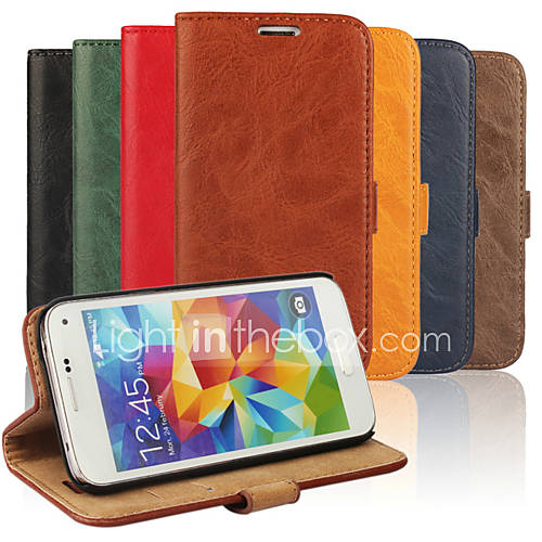 Case For Samsung Galaxy Samsung Galaxy Case Card Holder with Stand Flip Full Body Cases Solid Color PU Leather for S5 Mini S4 Mini S3 Mini