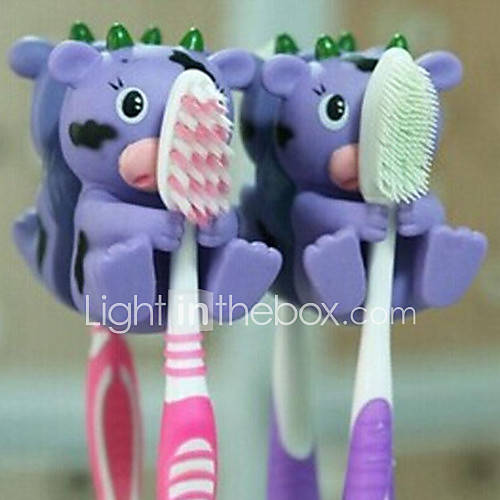 Cute Cartoon Suction Cup Toothbrush Holder Hooks Bathroom Eco-Friendly Household