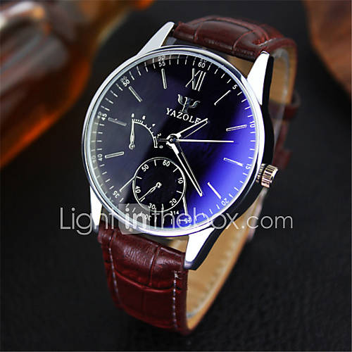 YAZOLE Luxury Brand Fashion Faux Leather Blue Ray Glass Men Watch 2015 Quartz Analog Business Wrist Watches Men montre homme Cool Watch Unique Watch