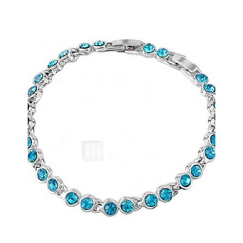 High Quality Crystal Silver Plated Round Link Chain Link Bracelet