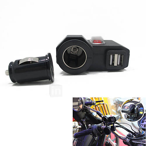 12v-24v Waterproof Motorcycle Car Dual USB Charger Cigerrete Lighter with Switch  Dual USB Socket
