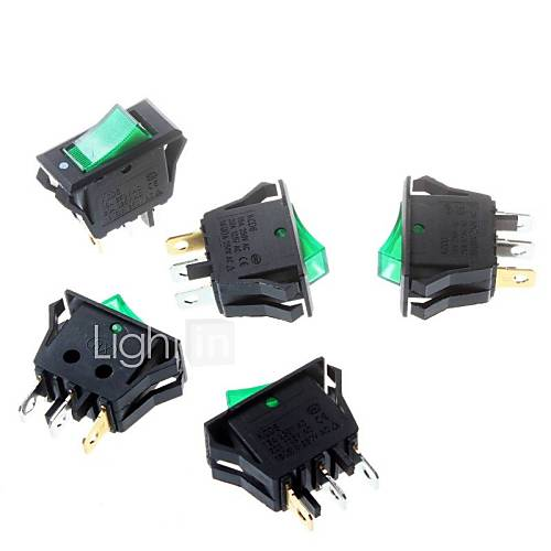 Green Rocker Switch 16  32mm Tripod 3P Power Rocker Switch
