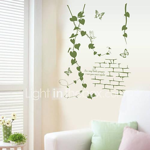 Wall Stickers Wall Decals Green Rattan PVC Wall Stickers