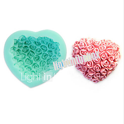 Valentine Rose Flower Heart Shape DIY Silicone Chocolate Pudding Sugar Cake Mold Color Random