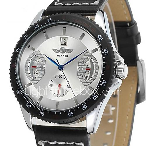 Men's  Luxury Skeleton  Mechanical Leather Analog Watches Wrist Watch Cool Watch Unique Watch