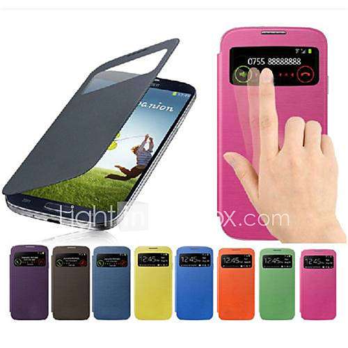 Case For Samsung Galaxy Samsung Galaxy Case with Windows Flip Full Body Cases Solid Color PU Leather for S4 Mini