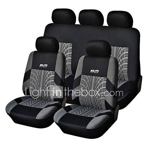 5 Seats Universal Car Seat Cover Black/Gray Textile Material Vehicle Seat Coler (9 pcs per kit)
