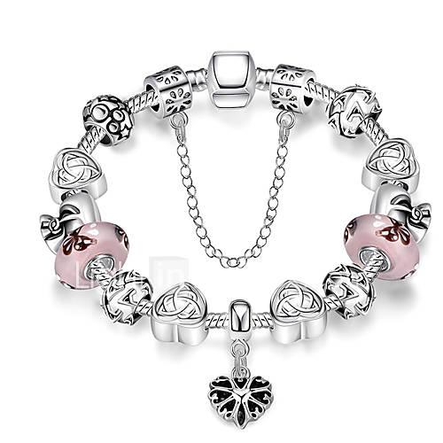 Strand Beads BraceletsBangles Charms Beads fit glass Making Silver Plated Crystal Big Hole Beads Beads PH003