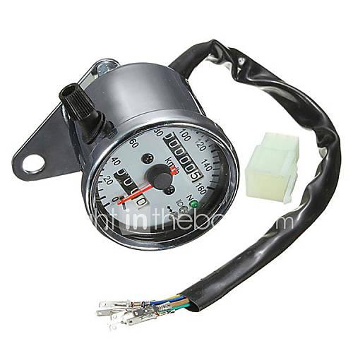 Iztoss Motorcycle Dual Odometer Speedometer Gauge LED Backlight Signal Light