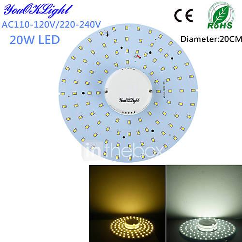 YouOKLight 20W 1800Lm  100-2835SMD Warm White Light / White Light LED Ceiling Light(AC110-120V/220-240V)