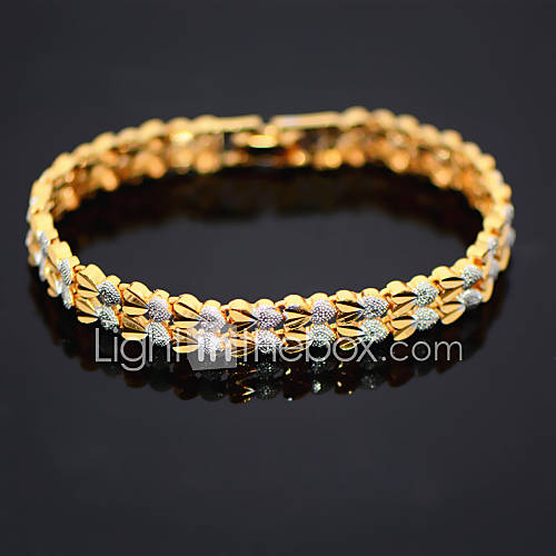 Fashion 18K Gold Gold Platinum Plated Double Heart Chain Bracelet Chain Bangle Trendy Jewelry Gift for Womans B40193