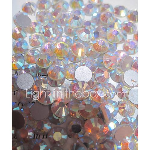 1440pcs/pack  White Colors AB Rhinestones DIY Crystal Glass Designs Nail Art  3d Decoration Diamond NC239