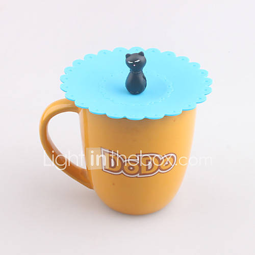 Cartoon Cat Shaped Silicone Mug Lid Cover Watertight Drink Cup Cap (Random Color)