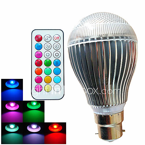 1 pcs SchöneColors B22 9W 3High Power LED 500LM Dimmable/Remote-Controlled/Decorative LED RGB Globe Bulbs AC100-240V