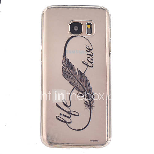 Case For Samsung Galaxy Samsung Galaxy S7 Edge Transparent Embossed Back Cover Feathers TPU for S7 Active S7 plus S7 edge S7 S6 edge plus