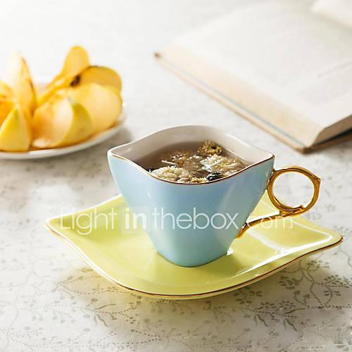 European High-Grade Glazed Pottery Cups And Saucers Coffee Cups And Saucers Office Coffee Mug Cup Diamond