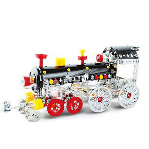 Jigsaw Puzzles 3D Puzzles Metal Puzzles Building Blocks DIY Toys Train 353 Metal Red Black Yellow Silver Model  Building Toy