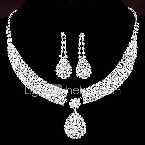 Women's Jewelry Set Drop Earrings Pendant Necklaces Rhinestone Bridal Elegant Wedding Party Anniversary Birthday Engagement Gift Daily