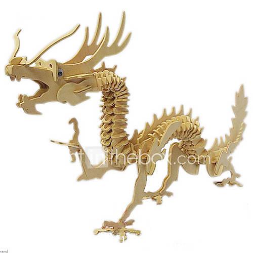 Jigsaw Puzzles 3D Puzzles / Wooden Puzzles Building Blocks DIY Toys Dragon Wood Beige Model  Building Toy