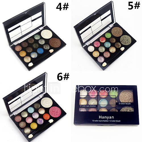 Professional 2in1 12 Glitter Shimmer Color Eyeshadow2 Blush Neutral Nude Eye Shadow Cosmetic Makeup Palette Set