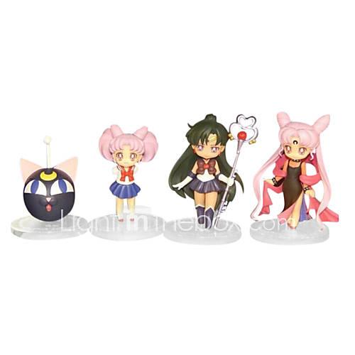 Sailor Moon Anime Action Figure 8CM Model Toy Doll Toy(4 Pcs)