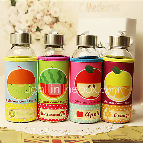 1PC 300 Ml Sealing Glass Drop Warm Insulation Students Hand In Glass Cartoon Fruit Water bottles