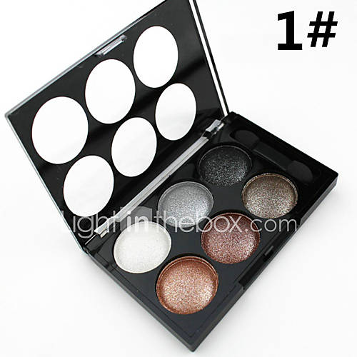 Alpha 6 Colors Natural Glitter Silky Shimmer Naked Eye Shadow Smoky Nude Eyeshadow PaletteBrush in(2 Color Choose)