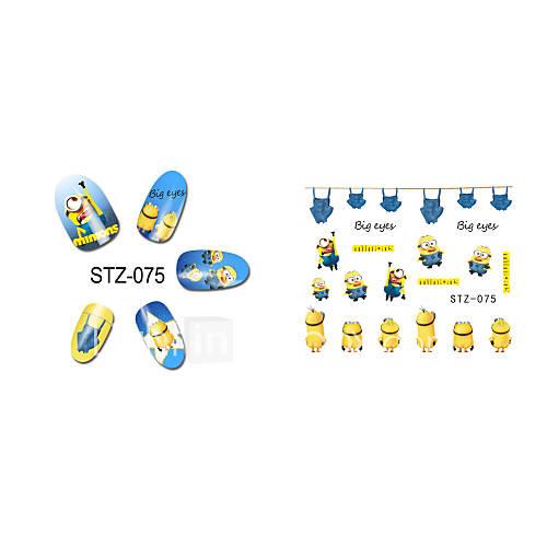 1pcs  New  Cartoon  Lovely  Small  Yellow Doll Minions  Water Transfer Nail Art Stickers STZ075-085