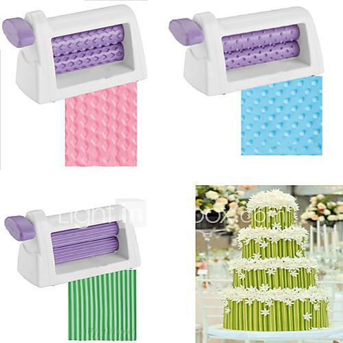 Plastic Rolling Pin Embosser Roller Set Baking Tools For Cakes Fondant Strip Ribbon Cutter Sugar craft